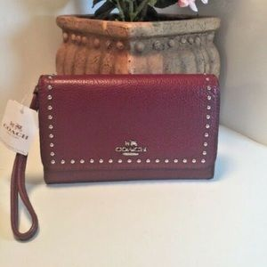 COACH Stud Rivets Wristlet, F66194 NEW WITH TAGS